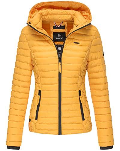 Marikoo Damen Winter Jacke Stepp Jacke mit Kapuze Übergangsjacke SMT2 (S, Gelb)
