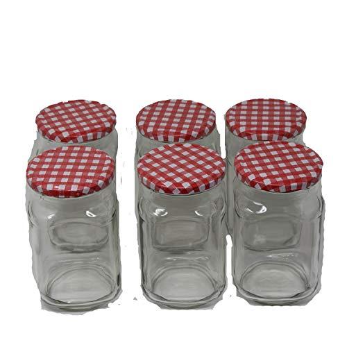 WeVe-Vertriebsgesellschaft für Porzellan mbH Einkochglas 720 ml Deckel rot-weiß mit Twist-Off-Deckel 6 Einkochgläser