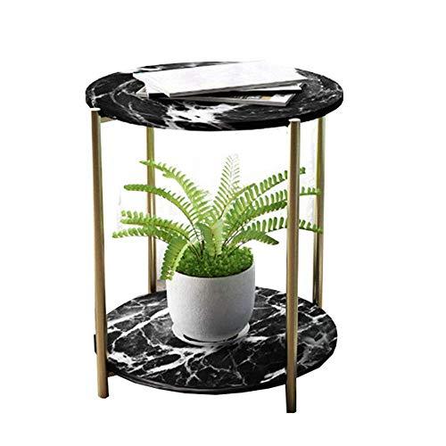 Carl Artbay Home & Selected Furniture / tegelsofa / salontafel Nordic Living Room kleine ronde tafel tafel 2 niveaus opslag slaapkamer nachtkastje hoek, 19,6 x 23,6 inch (goudkleurig)