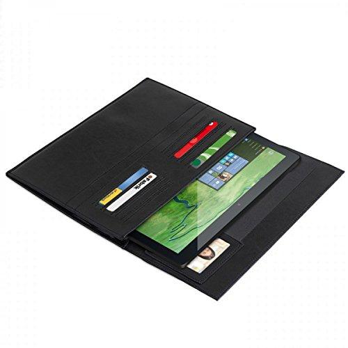 eFabrik Schutztasche für Odys Winpad 12 Ledertasche 2in1 11.6 Zoll Schutz Hülle Tasche Cover Sleeve Zubehör Vintage Leder Schwarz