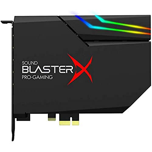 CREATIVE Sound BlasterX AE-5 Plus SABRE32 Hochauflösende PCI-e-Gaming-Soundkarte und DAC mit 32-Bit / 384 kHz, Dolby Digital und DTS mit bis zu 122 dB Rauschabstand, RGB-Aurora-Beleuchtungssystem