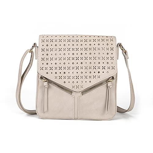 AFKOMST Umhängetasche Leder mittelgroß Shopper für Damen Messenger Bag Vintage Look Handtasche Beutel Tasche Schultertasche Multitasche(Beige)