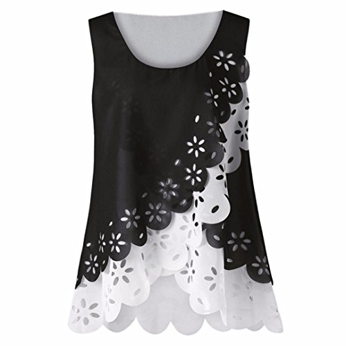 MRULIC Geschenk zum Muttertag Frauen Sleeveless Chiffon Solide Weste Bluse Tank Tops Camis Kleidung (EU-44/CN-XL, B-Weiß)