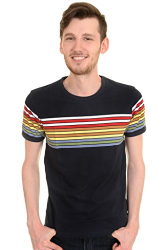 Run & Fly Mens 60s 70s Retro Rainbow Striped T Shirt XX-Large