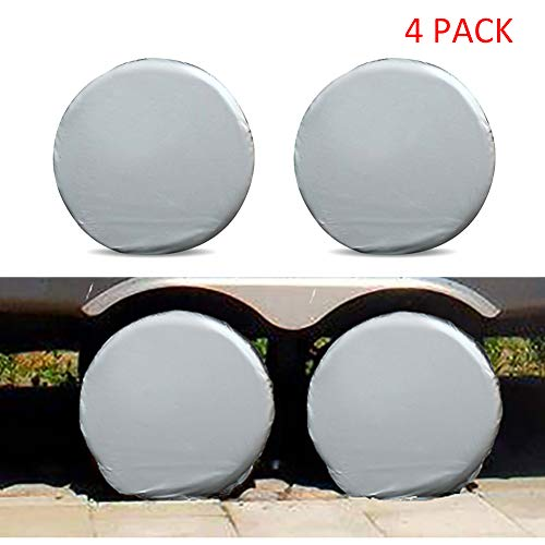 RENNICO Tire Covers Set of 4 for RV Wheel Motorhome Wheel Covers Travel Trailer Camper Vinyl Wheel, Sun Rain Snow Protector, Waterproof, Silver, Fits 27-29 Inch Tire