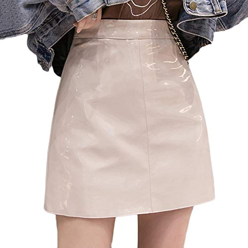 GELing Damen Minirock In Leder-Optik Elegant Abendrock Party Clubwear Aprikose M