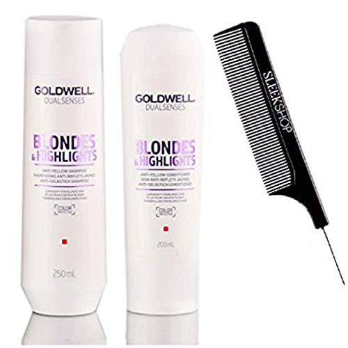 Dualsenses Blondes and Highlights Anti-Yellow Shampoo & Conditioner Duo Set (w/Sleek Comb) Dual Senses Anti-Brassiness Purple,Violet for Gray Hair (8.4 oz / 6.7 oz DUO KIT)