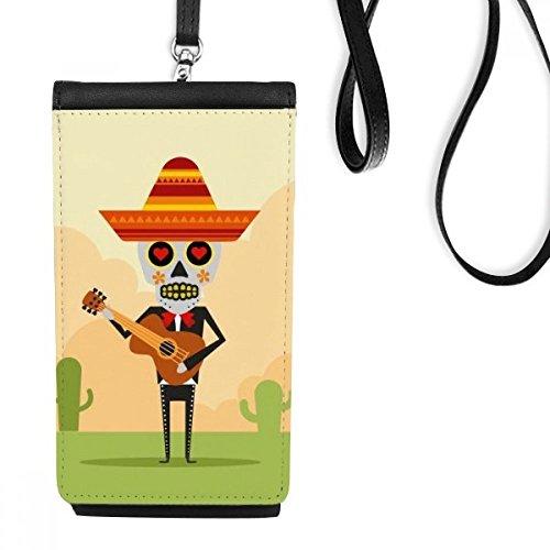 DIYthinker Cactus Hoed Schedel Spelen Gitaar Mexico Gelukkig De Dag Van De Dode Illustratie Faux Leer Smartphone Opknoping Handtas Zwart Telefoon Portemonnee Gift
