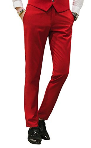 MOGU Mens Slim Fit Front Flat Casual Pants US Size 31 Bright Red