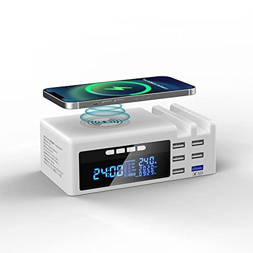 JCOTTON Multi USB Ladestation Ladegerät Mehrere Geräte mit LCD Bildschirm Wireless Schnell Charger 70W Induktives Ladegerät 6 Port mit USB wireless Ladegerät Kompatibilität für Mobiltelefon und Tablet