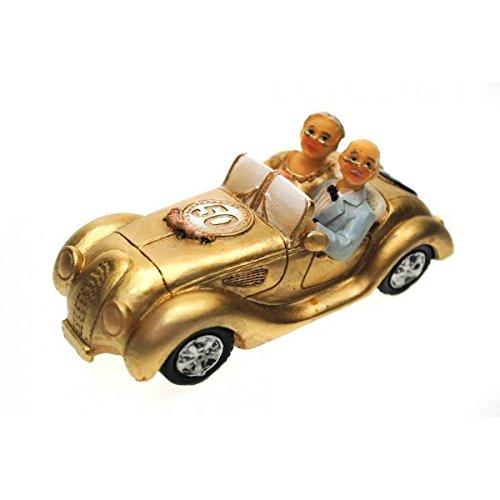 Goldpaar im Auto Goldhochzeitspaar 50.Hochzeitstag Goldene Hochzeit Goldenes Hochzeitspaar Goldenes Brautpaar Tischschmuck Hochzeitsschmuck Hochzeitsdeko Hochzeitsgastgeschenk Tortenfigur Tortenaufsatz