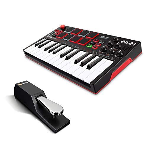 AKAI Professional MPK Mini Play + M-Audio SP-2 - Standalone Mini Keyboard USB Controller mit eingebautem Lautsprecher, Pads im MPC-Stil + Universal Sustain Pedal mit Piano Style Action