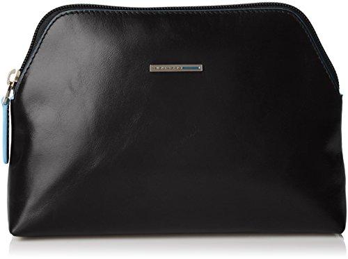 Piquadro Nécessaire Collezione Blue Square Beauty Case, Pelle, Nero, 22 cm