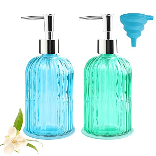Sayopin 5PCS Premium Glass Bathroom Soap Dispenser with Plating Rust Proof Pump, Refillable Liquid Hand Glass Bottle with Mat and Funnel, Lead-Free Hand Wash Bottle for Essential Oil & Lotion