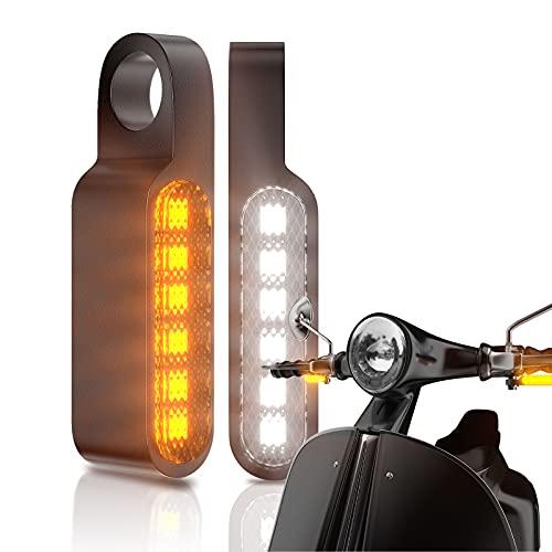 CCAUTOVIE Motorrad Blinker Universal Schwarz E Geprüft Led Mini Lauflicht Blinkerleuchten Signal Licht für Motorrad Scooter Fahrrad ATV Hell Lenker Indicator 12v 2 Stück