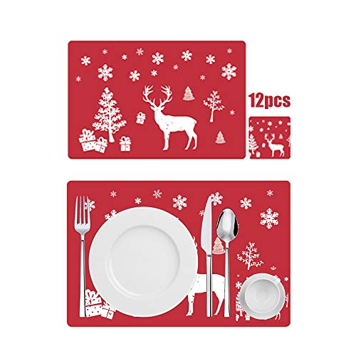 Anyingkai 12PCS Manteles Individuales de Navidad,Decoración Navideña Mantel,Mantel Individual Plastico,Salvamanteles Individual,PVC Mantel Individual,Estera de Mesa
