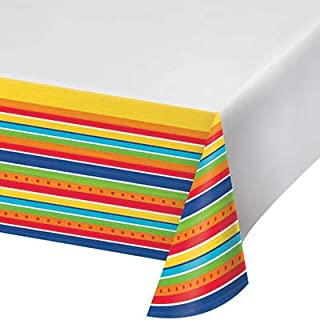 """Creative Converting Painted Pottery Plastic Tablecloth, 54"""" x 102"""", Multi-colored"""