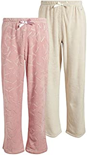 Image of Natural and Pink 2 Piece Fleece Pajama Pant for Girls - See More Colors