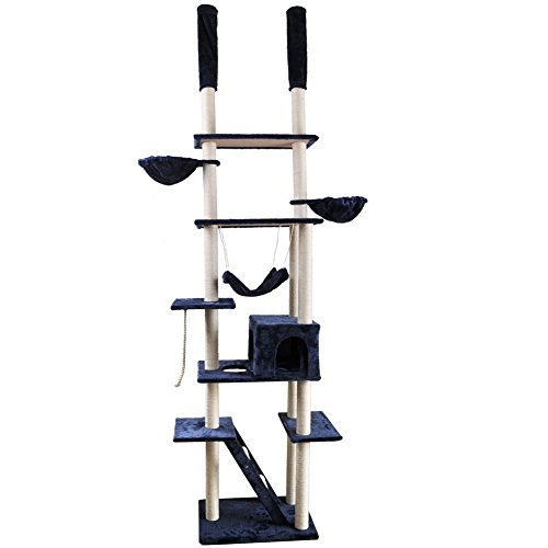 Roypet Adjustable 94.4'-101.2' Luxury Cat Furniture Floor-to-Ceil Cat Trees with Fixing Tool, darkblue