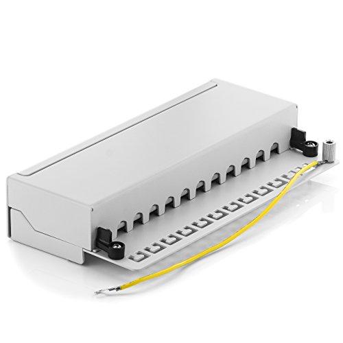 deleyCON CAT 6 Patchpanel Verteilerfeld 12 Port - Desktop & Wandmontage - Geschirmt - 12x RJ45 Buchse - TIA568A TIA568B Grau