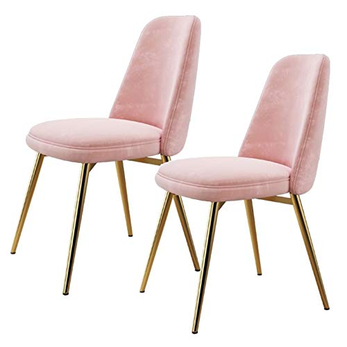 ZCXBHD Set Of 2 Dining Chairs Velvet Fabric Upholstered Seat And Backrest With Gold Metal Legs Kitchen Bedroom Dressing Lounge Table Side Chairs (Color : Pink)