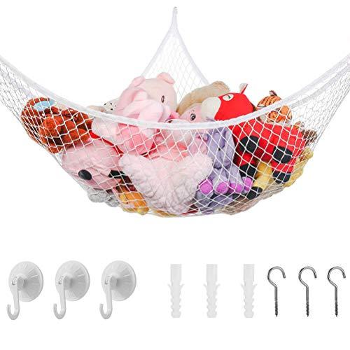 Fyeep Hammock Toy Storage Net, Extra Large Stuffed Animal Toy Storage Organizer Storage Net Toy Net Hammock for Bedroom, Playroom, Bathtub