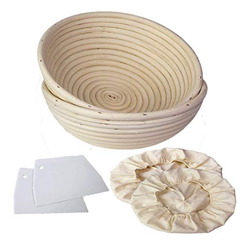Banneton Bread Proofing Baskets for Sourdough | Wicker Cane Brotform Set for Batards with Bamboo Dough Scraper & Cloth Liner | Food-Safe Cane Bread Proofer for Rising (2 Pack Round 23 cm)