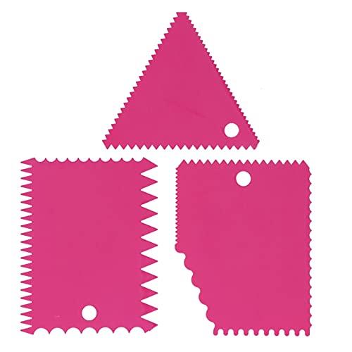 Les-Theresa 3 unids/set espátula para pastel, raspador de crema, cortadores de pastilla, borde de dientes irregulares, juego de herramientas más suave para hornear(Rosa roja)