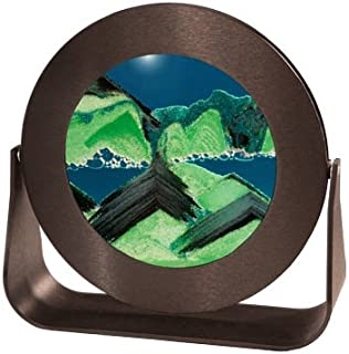 Exotic Sands Rd32 - American Quality - Sifting Sand Pictures - Timers by William Tabar - Small Round Black Frame (Summer Turquoise) Voted America's Best Gift! Hour Glass Handmade in Park City Utah.