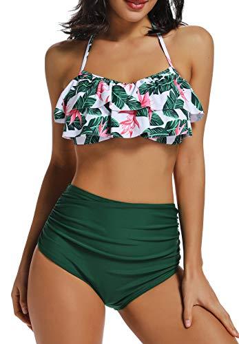 INSTINNCT Costume da Bagno Bikini Volant Donna a 2 Pezzi con Vita Alta Vintage Push Up Balze Ruffled Mare Mutande Reggiseno Swimwear, L, Verde