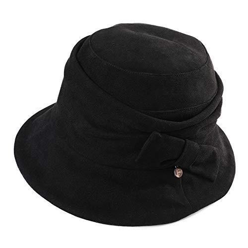 Fancet Corduroy Black Winter Bucket 1920s Derby Gatsby Hat for Women Cloche Fedora Round Bowler Beret Bow