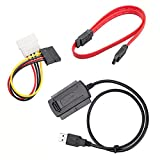 MOHANND Three-Way Adapter Cable USB to IDE/Sata Easy Drive Line 2.5 Inch / 3.5 Inch Hard Drive Optical Drive Adapter Cable Multicolor