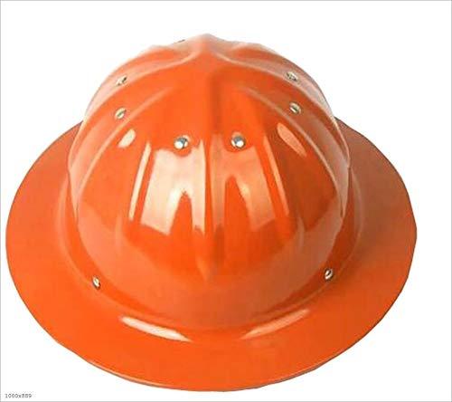 HongTong Cascos Cascos de Aluminio, Grandes Sombreros Casco for la construcción del Casco al Aire Libre con Sol Sombra de ala Ancha (Color : Orange)