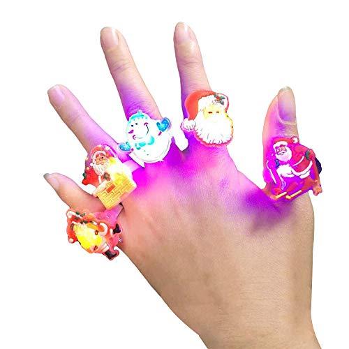 LISRUILY 5 piezas LED intermitentes para fiestas, juguetes de anillos, luminosos, pulsera de Papá Noel, círculo de muñeca, pulsera para niños, niñas, Navidad, bolsa sorpresa para niños, 5 piezas
