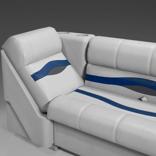 DeckMate Premium Right Pontoon Lean Back Seat (Gray/Blue/Charcoal)