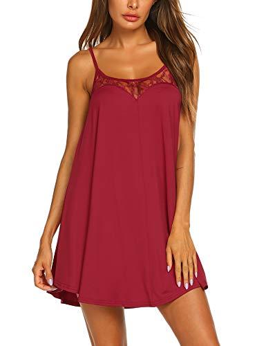 Ekouaer Nightgown Sexy Lingerie for Women Nightwear Lace Chemise Sleeveless Camisole Slip Dress Babydoll Sleepwear Wine Red
