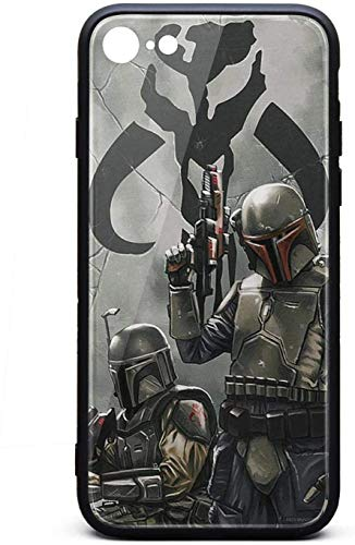 Funda para iPhone 6 Plus/iPhone 6s Plus Badass-Mandalorian-Starwars- Unisex Lindo Vidrio Templado Negro Anti-Arañazos TPU Goma Bumper Protector de Choques Cubierta Trasera