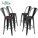 """PHI VILLA Metal Bar Stools Set of 4, 30"""" Counter Height Stools with Wooden Seat and High Backrest, Industrial Style Bar Chairs for Indoor & Outdoor, Pub, Kitchen Island - Matter Black"""