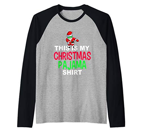 Santa Floss Dance Pajama Shirt | Dancing Santa PJ Raglan Baseball Tee
