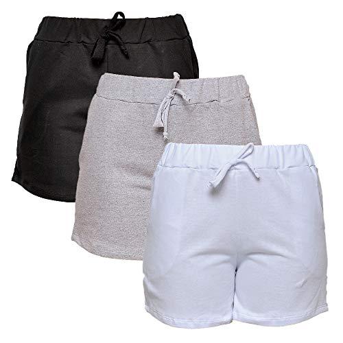 Kit com 3 Shorts de Moletim Style Feminino (Colorida, M)