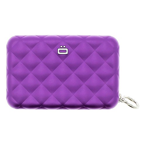 Ögon 'Quilted Zipper' Kartenetui Kreditkartenetui Geldbörse Aluminium RFID-safe Violett - by Moda Store