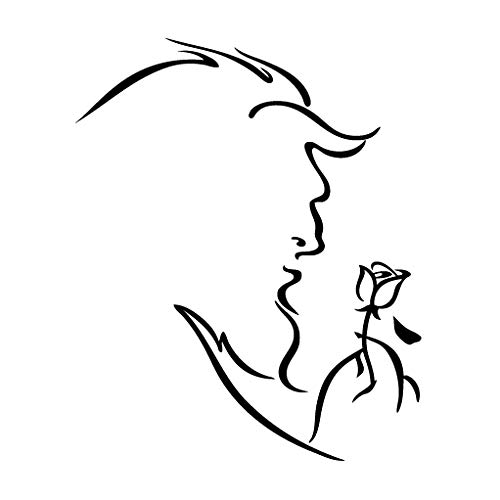 Leon Online Box Beauty and The Beast Rose - Cartoon Decal [12cm Black] Vinyl Sticker for Car, Bike, iPad, Laptop, MacBook, Helmet