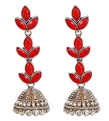 Pahal - Pendientes de plata con diseño de hoja de Kundan de color rojo con diseño de araña grande de Jhumka indio Bollywood para mujer