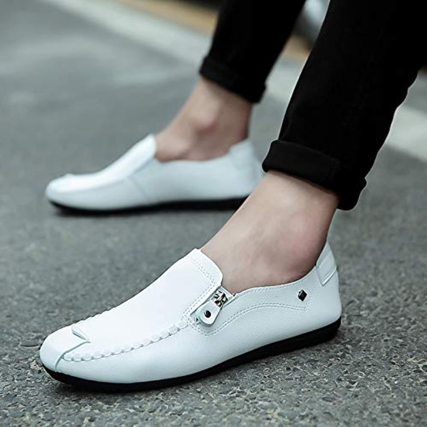 LOVDRAM Men'S Leather shoes Spring New shoes Korean Men'S Peas shoes Casual A Pedal Lazy Trend Fashion Men'S shoes