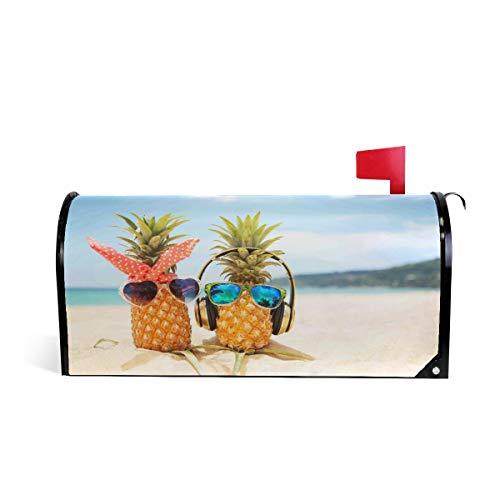 Witzige Pineapple Briefkasten-Abdeckung, wetterfest, magnetisch, verblasst Nicht, wetterfest, glasierte Obstdekoration, Briefkasten, Briefkasten, Briefkasten, Briefkasten, Briefkasten, 64,7 x 52,8 cm