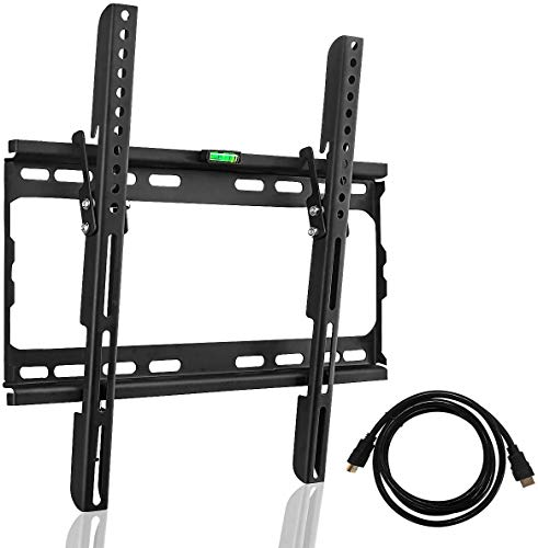 Suptek Tilt TV Wall Mount Bracket for Most 26-55 inch LED, LCD and Plasma TV, Mount with Max 400x400mm VESA and 100lbs Loading Capacity, Fits Studs 16' Apart, Low Profile with Bubble Level (MT4204),