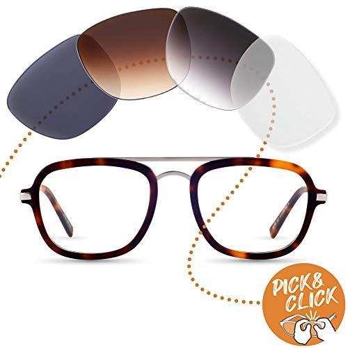 Eckige Brille mit Sehstärke von -4,00 bis +4,00 mit auswechselbaren Gläsern in 6 Farben für Kurzsichtigkeit und Weitsichtigkeit - Damen & Herren (Unisex) - Square Kollektion Modell Kotti amber