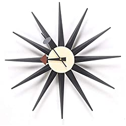 RH-ZTGY Wall Clock Classic Wooden Sunburst Clock, Decorative Modern Silent Wall Clock for Home, Kitchen,Living Room, Office Etc, Colorful Wooden Mid Century Retro Design,A,48CM/19.2IN