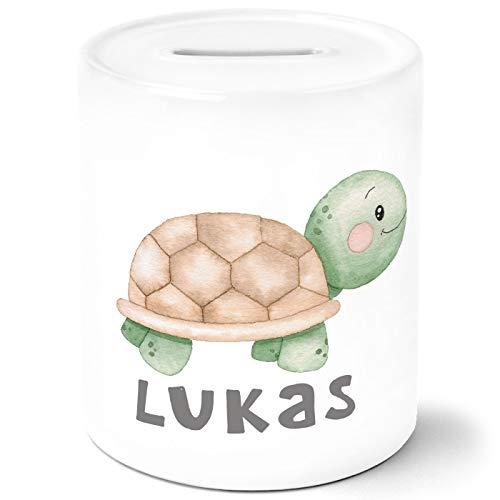 SpecialMe® Kinder Spardose mit Namen Schildkröte Tiermotive Watercolor Sparschwein Keramik personalisierte Geschenke weiß Unisize