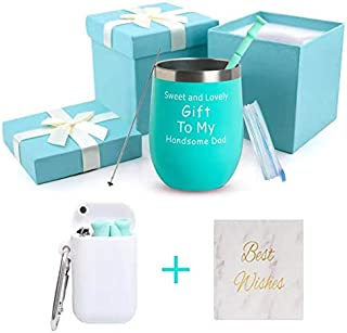 Sweet and Lovely Gift To My Handsome Dad - Best Dad Gifts for Dad from Daughter,Son,Kids,Wife - Vaccum Insulated Wine Tumbler with Lid , Double Wall Stainless Steel Stemless Insulated Wine Glass 12oz